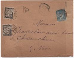 Lettre 15c Bleu SAGE Nièvre 1891  Taxe 30c + 15c  Noir Banderole Duval (Château-Chinon) - Strafport