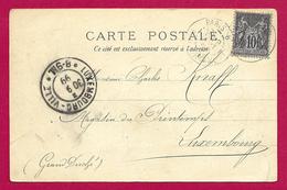 Écrit Postal Daté De 1899 - Voyagé De Paris Dans La Seine à Destination De Luxembourg - Magasin Du Printemps - Marcophilie (Lettres)
