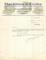 FACTURE 1937 Machines à écrire Georges DIMOPOULOS à Saint étienne Loire + Enveloppe   4scans - France