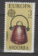 ANDORRA CORREO ESPAÑOL  SELLO CON UN PUNTO BLANCO DENTRO DE LA ANSA DEL CALDERO (S.2) - Andorra Española