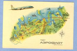 9938 Russia USSR Aeroflot Advertising Card Of The Route Moscow - Norilsk - Luchtvaart