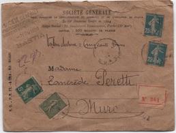 Lettre 2ème échelon (22 G) Valeur Déclarée 500 F BASTIA Pour MURO CORSE 1920 (tarif De 1917) SEMEUSE - Francia