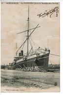 BORDEAUX  33 - Le Cordillière Dans Le Bassin Des Docks - Carte Photo, Autographe,signature, à Identifier, Pas Courant - Paquebots