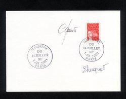 """SUR CARTON """" MARIANNE DU 14 JUILLET (RF) """" CACHET 1ER JOUR PARIS DU 1/08/2001 - SIGNE E. LUQUET ET C. JUMELET - ETAT** - FDC"""