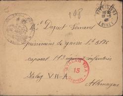 Guerre 39 Pithiviers 18 5 40 Pr Stalag VIIA Moosburg Cachet Contrôle Postal Commission UP + Censure Stalag Rouge - Guerra Del 1939-45