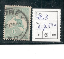 AUSTRALIA1915: Michel25II (watermark3)used Cat.Value30Euros($33)  Stamp Has Short Perfs At Top - Used Stamps