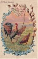 Coq Et Poule Sonnant La Cloche De Pâques  Frohliche Ostern Myosotis Gaufrée Et Relief  1909 Illustree Non Signee - 1900-1949