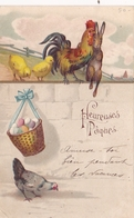 Illustree Non Signee Lapin Et Coq Humanisé Se Tenant Par L épaule Poussin Et Poule Heureuses Pâques 1905 Gaufrée - 1900-1949