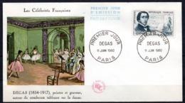 FDC FRANCE 1960 - N° 1262 - Célébrités - 50 C. + 15 C. - Degas - FDC