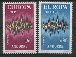 ANDORRE N° 217 + 218 Cote 41 €. Neufs ** (MNH). Europa 1972. TB - Andorre Français