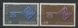 ANDORRE N° 188 + 189 Cote 35 €. Neufs ** (MNH). Europa 1968. TB - Nuovi