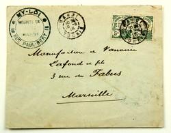Lettre 1916 Meubles My - Loi Hanoï --> Marseille, Affr. 10 C - Indochine (1889-1945)