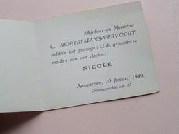 NICOLE Dochter Van C. Mortelmans-Vervoort Te ANTWERPEN Op 10 Januari 1949 ! - Naissance & Baptême