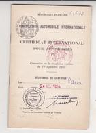 Fixe Certificat International Pour Automobiles Paris 1954 Concernant Une Moto Ancienne FN Belgique Fabrique Nationale - Motorfietsen
