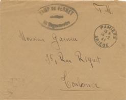 """Cachet """" CAMP DU VERNET """" Sur Lettre FM Obl CàD """" PAMIERS ARIEGE 14/2/41 """" Pour Toulouse - INTERNÉS CIVILS CONCENTRATION - WW2 (II Guerra Mundial)"""
