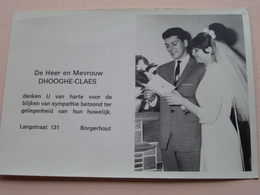 Huwelijk DHOOGHE-CLAES Te BORGERHOUT Langstraat 131 ( Anno 19?? ) ! - Mariage