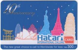 THAILAND F-071 Prepaid Hatari - Cartoon, Landmarks Of The World - Used - Thaïland