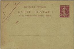 Carte Lettre  Timbre Semeuse Non Circule - Briefmarken (Abbildungen)