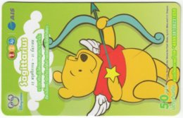 THAILAND F-797 Prepaid 1-2-Call - Walt Disney, Winnie Pooh, Signs Of Zodiac, Sagittarius - Used - Thaïland