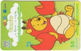 THAILAND F-801 Prepaid 1-2-Call - Walt Disney, Winnie Pooh, Signs Of Zodiac, Cancer - Used - Thaïland