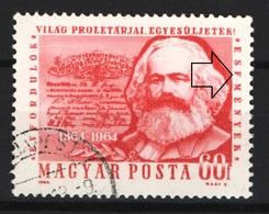 Hungary 1964. Karl Marx ERROR Stamp: Text. ESEMENYEK --> ESFMENYEK !!! Used - Abarten Und Kuriositäten