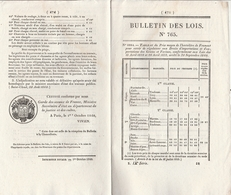 Bulletin Des Lois 765 De 1840 Prix Froment - Pont Sur La Loire à Montjean Maine Et Loire Avec Tarifs Péage - Decrees & Laws