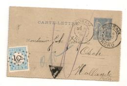 TAXE PAYS BAS 10 CENT Sur ENTIER SAGE 15C DAGUIN ROUBAIX Nord Pour OSCH Hollande.  PEU COMMUN ! - Marcophilie (Lettres)