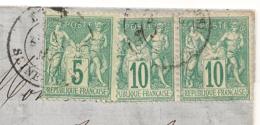 Belle Combinaison SAGE Paire 10c TYPE I + 5C Type 2A. EU Seine Inférieure LAC TONNELIERS, FOUDRES. 5 SCANS - Marcophilie (Lettres)
