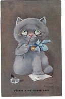 """L170A406 - Dessin De Chat """"J'écris à Ma Bonne Amie"""" - MKnicht  Kennedy Illustrateur - M.M Vienne N°854 - Chats"""