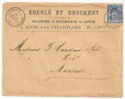 IGON Par COARRAZE Basses Pyrénées. Enveloppe Au Type SAGE. Filature Et Retordage De COTON - Marcophilie (Lettres)