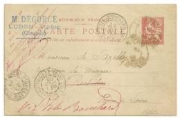 LUDON Gironde Sur Entier MOUCHON Pour RICHELIEU Puis L'ILE BOUCHARD Indre Et Loire. - Marcophilie (Lettres)