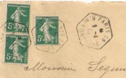Heagonal PARIS 28 R. DE PONTOISE Sur SEMEUSE Pour Tesson. - Marcophilie (Lettres)