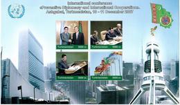 Turkmenistan. Intl. Conference In 2007(Flag , Archit). 2 S/S Of 4v X5000 English And Turkmen Languages.Michel # BL29 -30 - Turkmenistan