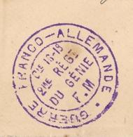 GUERRE FRANCO ALLEMANDE. Cie 16-19 2EME REGI DU GENIE. F.M. Pour FABREGUES Hérault. - Marcophilie (Lettres)