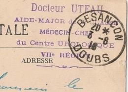 Centre UROLOGIQUE Docteur UTEAU Médecin - Chef. BESANCON Doubs Pour LA REOLE Gironde. - Marcophilie (Lettres)