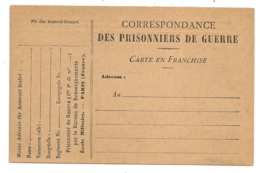 CARTE EN FRANCHISE PRISONNIERS DE GUERRE NEUVE. - Marcophilie (Lettres)