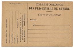 CARTE EN FRANCHISE PRISONNIERS DE GUERRE NEUVE. - Cartes De Franchise Militaire