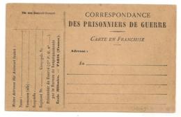 CARTE EN FRANCHISE PRISONNIERS DE GUERRE NEUVE. Lot 2 - Cartes De Franchise Militaire