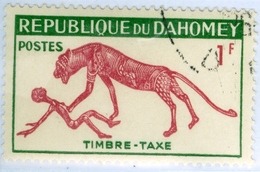 REPUBBLICA DI DAHOMEY, SEGNATASSE, FAUNA, PANTERA, 1963, 1 F., USATO Mi:DY P32, Scott:DY J29, Yt:DY T32, Sg:DY D191 - Benin – Dahomey (1960-...)