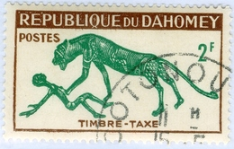 REPUBBLICA DI DAHOMEY, SEGNATASSE, FAUNA, PANTERA, 1963, 2 F., USATO Mi:DY P33, Sn:DY J30, Yt:DY T33, Sg:DY D192 - Benin – Dahomey (1960-...)