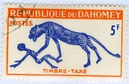 REPUBBLICA DI DAHOMEY, SEGNATASSE, FAUNA, PANTERA, 1963, 5 F., FRANCOBOLLO USATO Mi:DY P34, Sn:DY J31, Yt:DY T34 - Benin – Dahomey (1960-...)