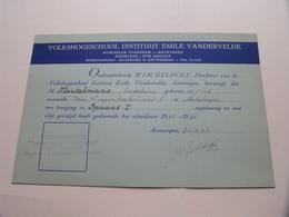 VOLKSHOGESCHOOL INSTITUUT EMILE VANDERVELDE Antwerpen ( Mortelmans 3/5/1917 ) Leergang SPAANS 1961/61 > Zie Foto's ) ! - Diploma's En Schoolrapporten