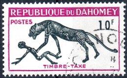 REPUBBLICA DI DAHOMEY, SEGNATASSE, FAUNA, PANTERA, 1963, 10 F., FRANCOBOLLO USATO  Mi:DY P35, Scott:DY J32, Yt:DY T35 - Benin – Dahomey (1960-...)