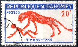 REPUBBLICA DI DAHOMEY, SEGNATASSE, FAUNA, PANTERA, 1963, 20 F., FRANCOBOLLO USATO  Mi:DY P36, Sn:DY J33, Yt:DY T36 - Benin – Dahomey (1960-...)