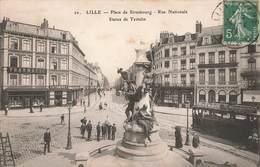 59 Lille Place De Strasbourg Rue Nationale Cpa Carte Animée Tram Tramway Pharmacie Pharmacien Huet - Lille