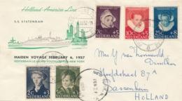 Nederland - 1957 - Kindserie Met Maiden Voyage SS Statendam Van New York Naar Sassenheim - Postagent Etc / 8 - Lettres & Documents
