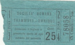 BIGLIETTO BUS TRAMVIE ROMA CENT.25 (BY37 - Busse