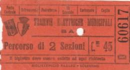 BIGLIETTO TRAMVIE ELETTRICHE BARI C.45 (BY136 - Bus