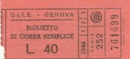 BIGLIETTO BUS UITE GENOVA L.40 (BY190 - Europa