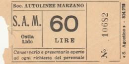 BIGLIETTO AUTOLINEE MARZANO LIRE 60 (BY253 - Busse